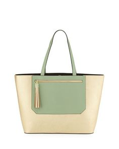 Colorblock+Tote+Bag,+Gold/Seaglass+by+Neiman+Marcus+at+Neiman+Marcus+Last+Call.