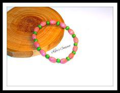 Genuine European Pink & Green wood bead bracelet - pinned by pin4etsy.com #handmade #woodjewelry #jewelry #bracelets #etsy #katesoutpost