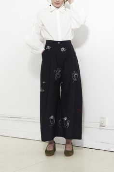 MR. LARKIN, Babette Pant, Muse Embroidery, Ink |