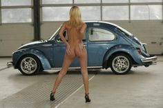 VW beetle & babe