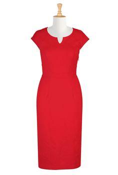Tomato Red Ponte Dresses, Stretchy Sheath Dresses Shop women's long sleeve dresses - Women's designer dresses: Casual Cotton, Long, Fall & Knit Dresses - -   eShakti