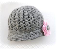 Crochet Hat for Women Crochet Cap Grey Pink by CraftsbySigita