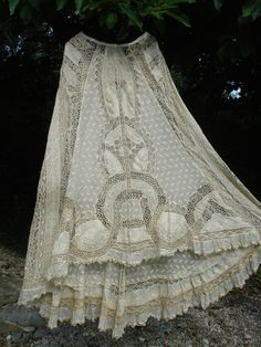 antique french victorian trained embroidery + bobbin lace skirt normandy
