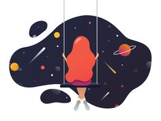 Swinging in the space animation designed by Jessica Salvi. Connect with them on Dribbble; Creative Poster Design, Design Poster, Creative Posters, Cute Illustration, Graphic Design Illustration, Digital Illustration, Design Theory, Adobe Illustrator Tutorials, App Design Inspiration