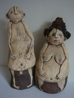 naturists male and female ceramic figures by emilyrowley on Etsy, £200.00