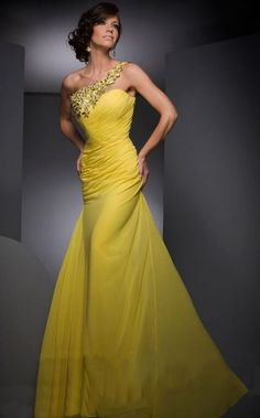 ★One-shoulder Yellow Chiffon Mermaid Evening Dress Prom Gown Party Pageant Dress #unbranded #BallGown #Formal