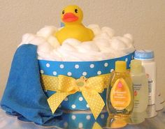 Rubber Duckie Diaper Cake (Blue) #diapercake #babyshower