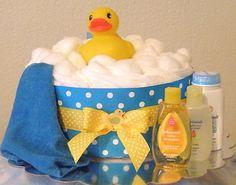 Rubber Duckie Diaper Cake (Blue) #diapercake #babyshower