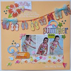 do you have a flip flop stamp set? Cute scrapbook page layout.love the flip flop banner! Beach Scrapbook Layouts, Vacation Scrapbook, Scrapbook Sketches, Baby Scrapbook, Scrapbook Paper Crafts, Scrapbooking Layouts, Scrapbook Cards, Scrapbook Photos, Creative Memories