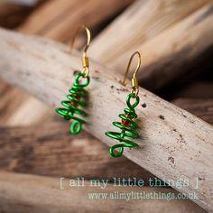 Christmas Tree Spiral Earrings  handmade by www.allmylittlethings.co.uk ideal stocking filler or gift £5.00