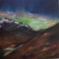 Grace Cameron- Northern Lights over The Sma' Glen  (just round the corner from where we stay)  http://www.strathearn-gallery.com/exhibitions/292/summer-colours