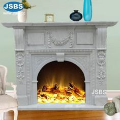 Stone Carved marble fireplace mantel Marble Fireplace Mantel, Fireplace Stone, Home Fireplace, Marble Fireplaces, Fireplace Surrounds, Fireplace Mantels, Marble Carving, Stone Fountains, Beige Marble