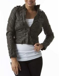 (CLICK IMAGE TWICE FOR DETAILS AND PRICING) Cadet Faux Leather Jacket Deep Olive. Balance this on trend military inspired jacket with feminine tops and pair with tailored pants or jeans.. See More Coats and Jackets at http://www.ourgreatshop.com/Coats-and-Jackets-C76.aspx