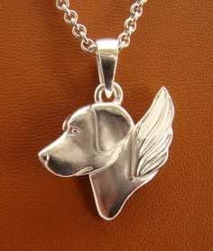 Large Sterling Silver Labrador Retriever Angel Pendant