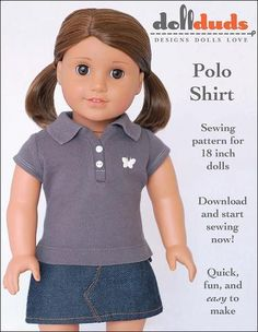 Liberty Jane Free Polo Shirt Doll Clothes Pattern 18 inch American Girl Dolls | Pixie Faire - Free 12/23/16