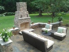 Outdoor Concrete Patio Design Decorated with Brick Fireplace. If I only had a huge backyard Concrete Patios, Concrete Patio Designs, Outdoor Fireplace Patio, Outdoor Fireplace Designs, Brick Fireplace, Outdoor Fireplaces, Simple Fireplace, Patio Wall, Outdoor Rooms