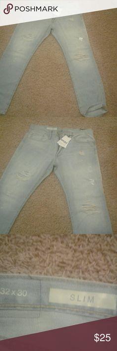 Mens Gap slim fit jeans Mens Gap slim fit jeans. Distressed look, light denim color. 32?30 Gap  Jeans Slim