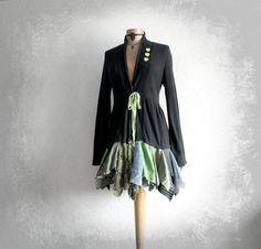 Black Knit Lagenlook Sweater Green Tones by BrokenGhostClothing, $122.00