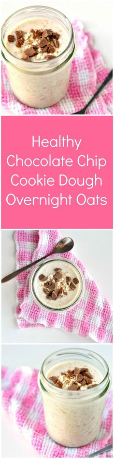 Healthy Chocolate Chip Cookie Dough Overnight Oats Recipe   This healthy overnight oats recipe is so good you really will think you're eating cookie dough for breakfast! Only 5 minutes prep and simple ingredients required!
