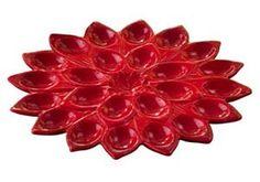 Image detail for -Poinsettia Deviled Egg Plate 12-1/2IN Ceramic Gift Boxed.