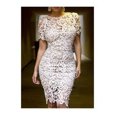 Rotita White Crochet Lace Bandage Bodycon Pencil Dress ($29) ❤ liked on Polyvore featuring dresses, white, lace sheath dress, bodycon dress, lace bodycon dress, white bandage dress and bodycon bandage dress