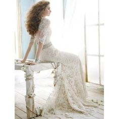 white wedding dress made of lace