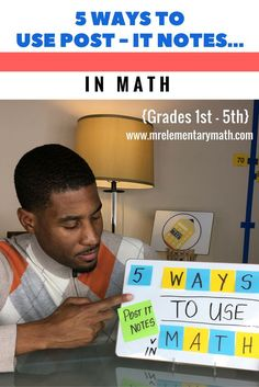 Watch 5 ways to teach math using post it notes. There are ideas for teaching addition, graphing, area and more! Sticky notes help make learning interactive and fun!