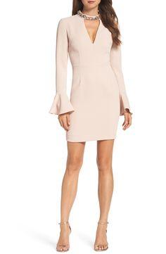 Crystal Choker Bell Sleeve Sheath Dress