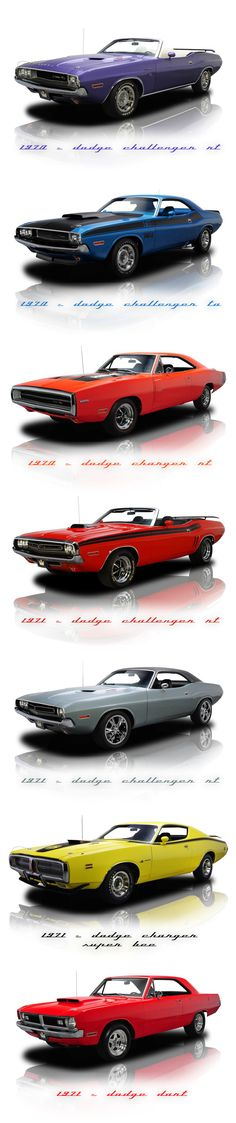 Dodge Challenger & Charger 70' (especially love the purple convertible) http://classic-auto-trader.blogspot.com