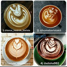 VOTE FOR #pouroftheweek!  1. @lance_hedrick_barista 2. @homebaristakit 3. @barista_rpgplayers 4. @elisha992  Congrats to the finalists - if you're living in AUS send me a private message with your details so I can send you a free 100g bag of coffee for your wicked pours!  Please vote for your favourite by leaving a comment with the number of the coffee you like most and tell us why! Also check out #freepourfriday if you're looking for some up and coming latte artists to follow - so many of…