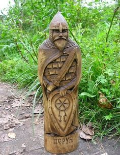viking wooden statue