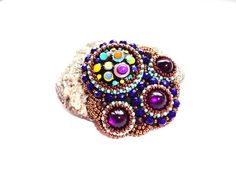 Bead Embroidered Multicolor Brooch Embroidery by KristinesBeads