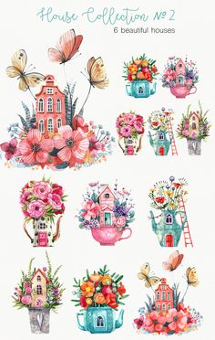 Floral Illustrations, Cute Illustration, Watercolor Illustration, Watercolor Design, Watercolour, Watercolor Paintings, Cartoon House, Decoupage Printables, Group Art