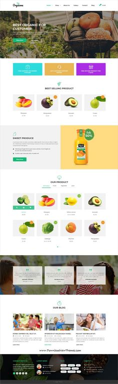 Orgazone is clean and modern design PSD template for #organic store and #farms #eCommerce #website with 4 homepage layouts and 21+ layered #PSDfiles to live preview & download click on image or Visit