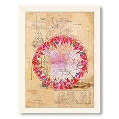 Americanflat Paula Mills Circle Collage Framed Painting Print Frame Color: