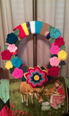 I made my first crochet wreath, love it.