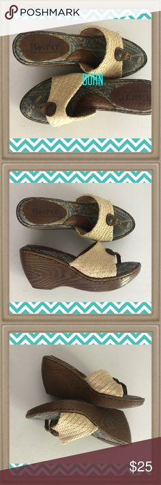 """""""Born Baby Born"""" CUTE SHOES Quality clog style shoes by Born. Leather and fabric uppers. Aged brass hardware on the toe strap. Man made 3 inch heels. Multicolored fabric sole. Born Shoes Mules & Clogs"""