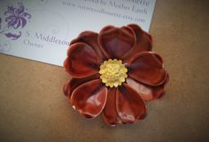 Vintage Metal Flower Pin / Brooch by NaturesSilhouette on Etsy