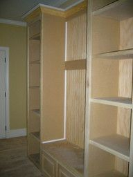 bench and shelves