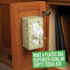 Create a low-cost DIY plastic bag dispenser using an empty tissue box.