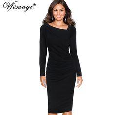 Vfemage Womens Elegant Asymmetric Neck Draped Slim Long Sleeve Wear To Work Office Business Casual Party Sheath Dress 4186