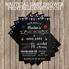 Chalkboard Nautical Baby Shower Invitation - Printable - Digital File