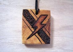 Mens Lightning Necklace Pendant - Hand Etched Pyrography Mini Art