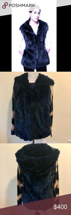 Jocelyn Hooded Rabbit Fur Vest in Navy •Lining Composition •Polyester 100% •Composition •Rabbit Fur 100% •Washing Instructions: •Specialist Cleaning •Hooded back. •Hook front.  Excellent Condition Jocelyn Jackets & Coats Vests