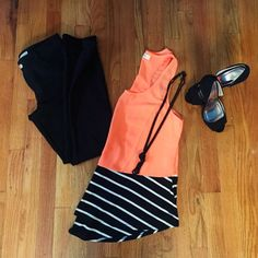 Neon Orange Color Block Tank Bright and fun neon orange tank with black and white stripes color blocking. Tank has a loose, flowing fit and pairs great with a bandeau. Purchased from a local boutique. Never worn out of home, perfect condition. ❌no trades ✅make an offer Umgee Tops Tank Tops