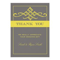 Modern Grey and Yellow Swirl Wedding Thank You Cards Personalized Announcement