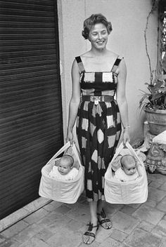 """The famous photograph of Ingrid Bergman with her twins Isabella and Ingrid in Rome, 1952, taken by David """"Chim"""" Seymour."""