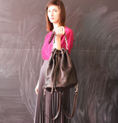 black leather handbag backpack convertible by cheapopulance, $45.00
