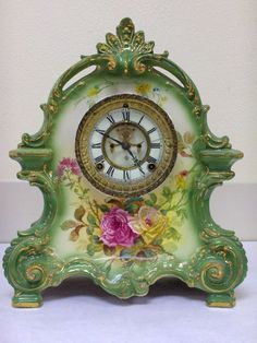 Antique Ansonia Porcelain Clock with Roses Old Clocks, Antique Clocks, Vintage Clocks, Antique Desk, Ansonia Clock, Classic Clocks, Clock Shop, Father Time, Wall Clock Online