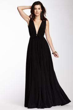 Crepe de Chine Deep V-Neck Dress on HauteLook
